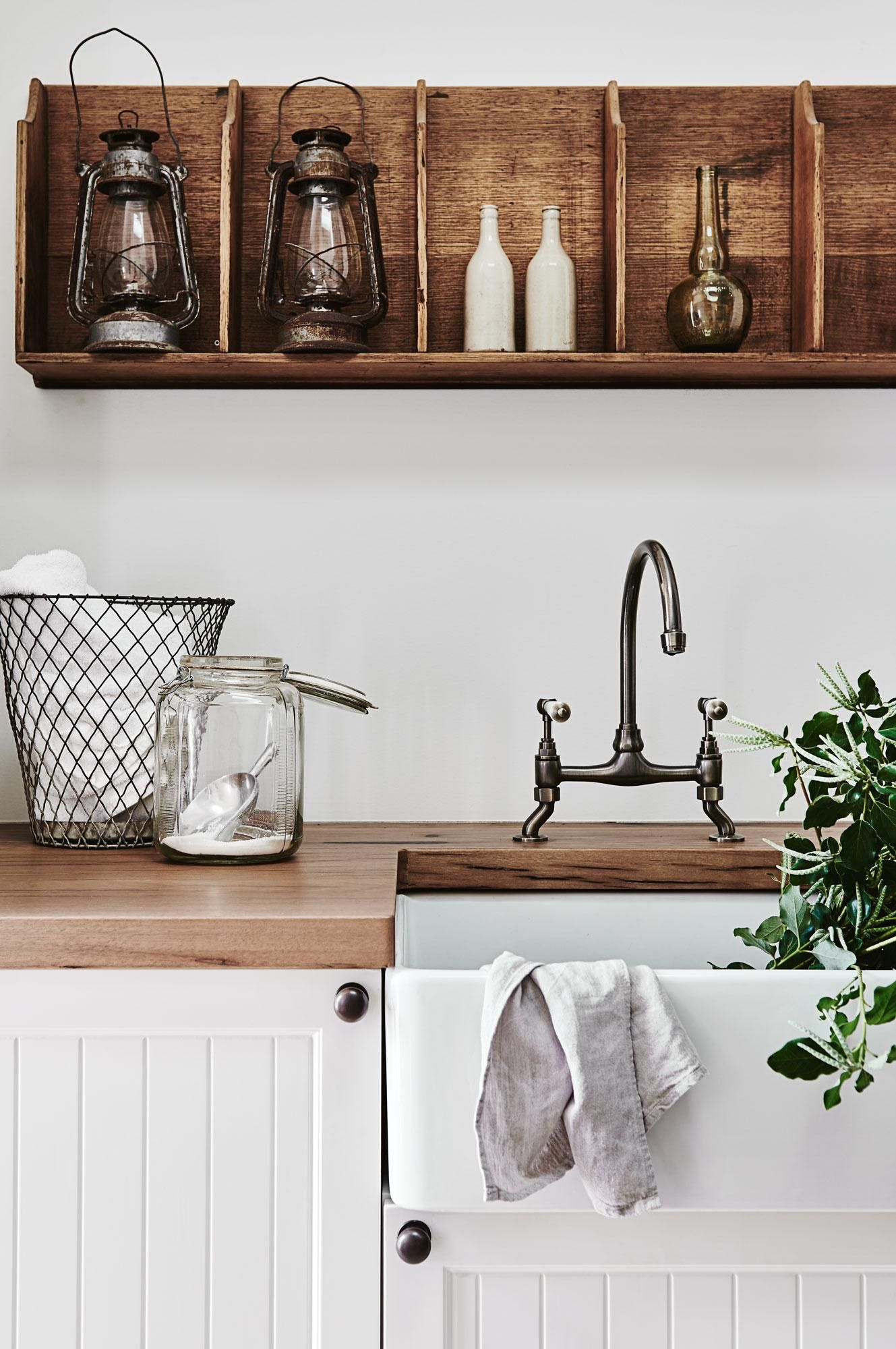 A Frenchinspired farmhouse in Victoria Cupboard Laundry and Sinks
