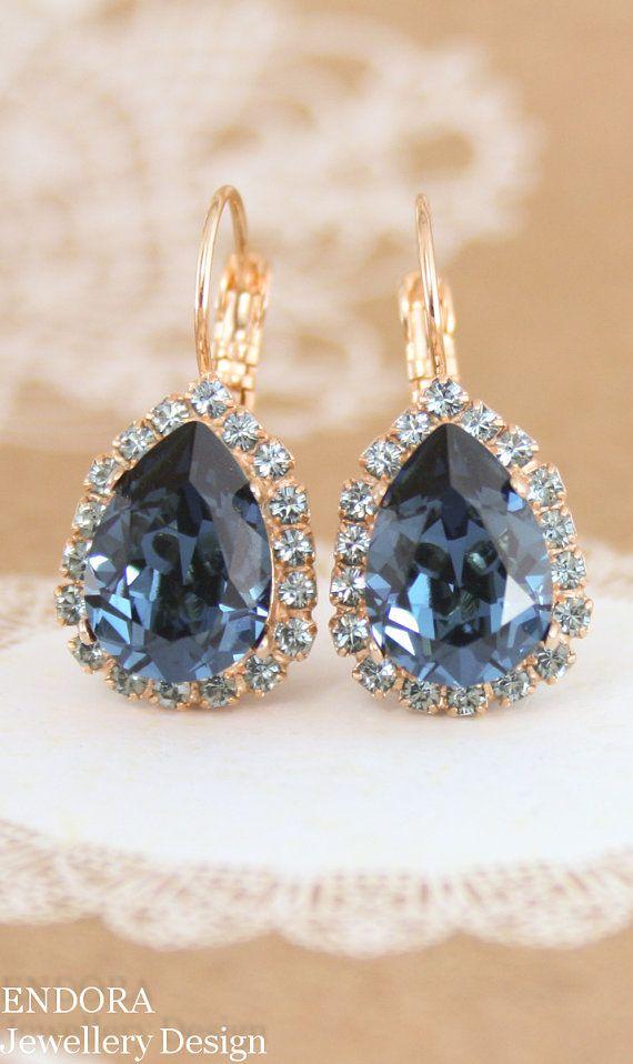 Blue Crystal Earrings Swarovski Montana Teardrop