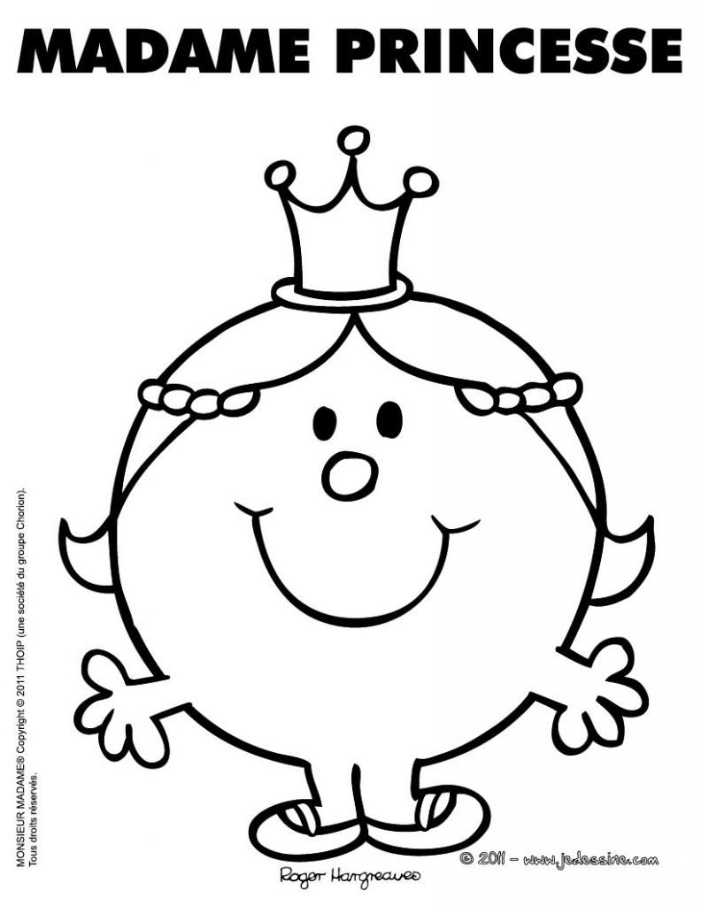 Mme Princesse Monsieur Madame Monsieur Madame Coloriage