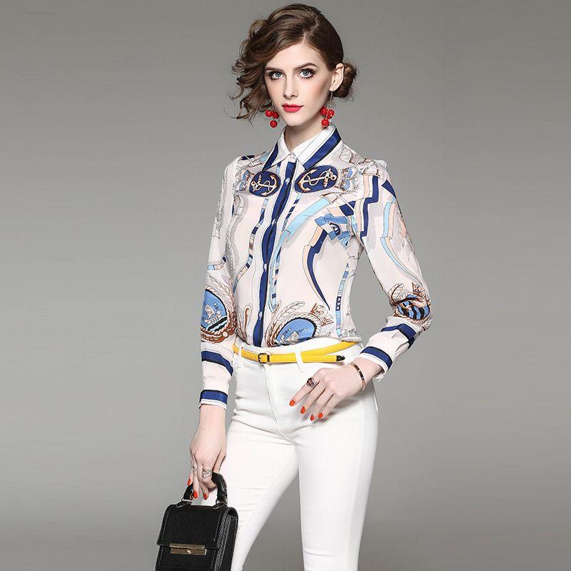 New 2017 spring silk shirt women's fashion long sleeve print slim silk shirts blouses female