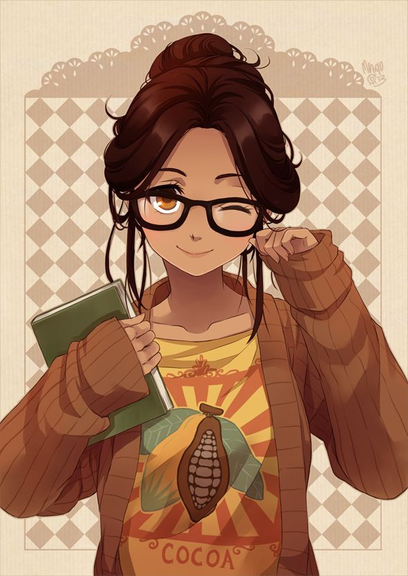 Anime girl with brown hair and glasses поиск в google