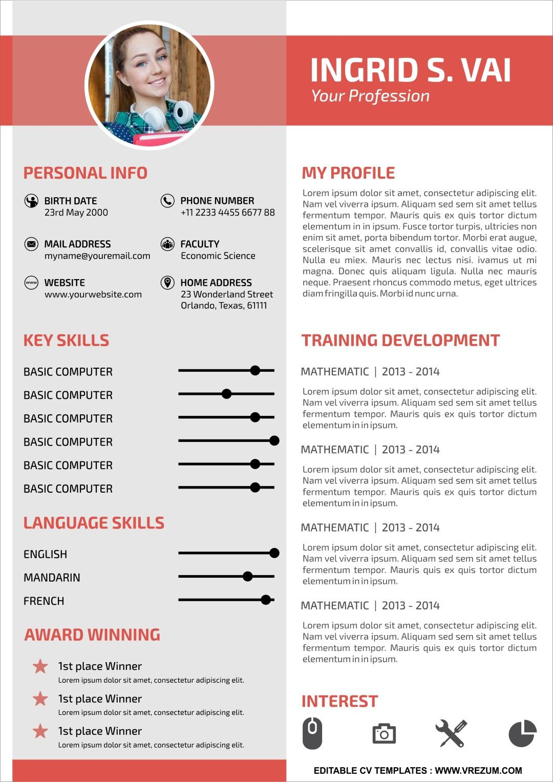 (EDITABLE) FREE CV Templates For University Student in