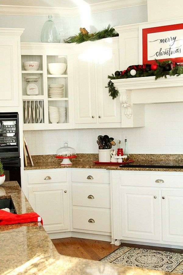 Using Red In A White Holiday Kitchen Duke Manor Farm Holiday Kitchen Kitchen Kitchen Cabinets