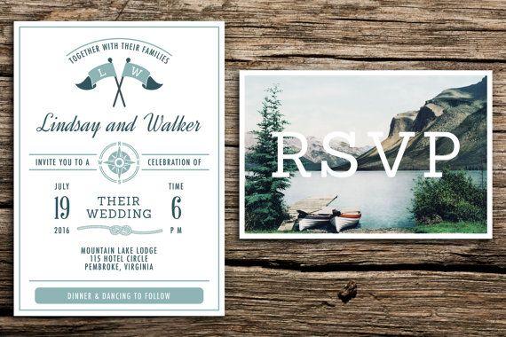 Lake Themed Wedding Invitations: Vintage Lake Wedding Invitation & Vintage Postcard RSVP