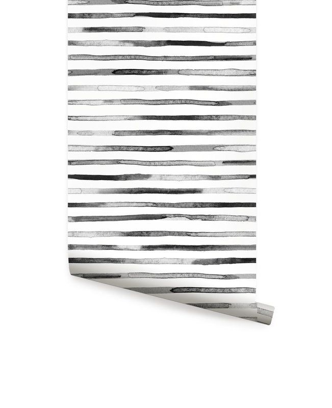 Roommates Watercolor Stripe Peel Stick Wallpaper In Tan Peel