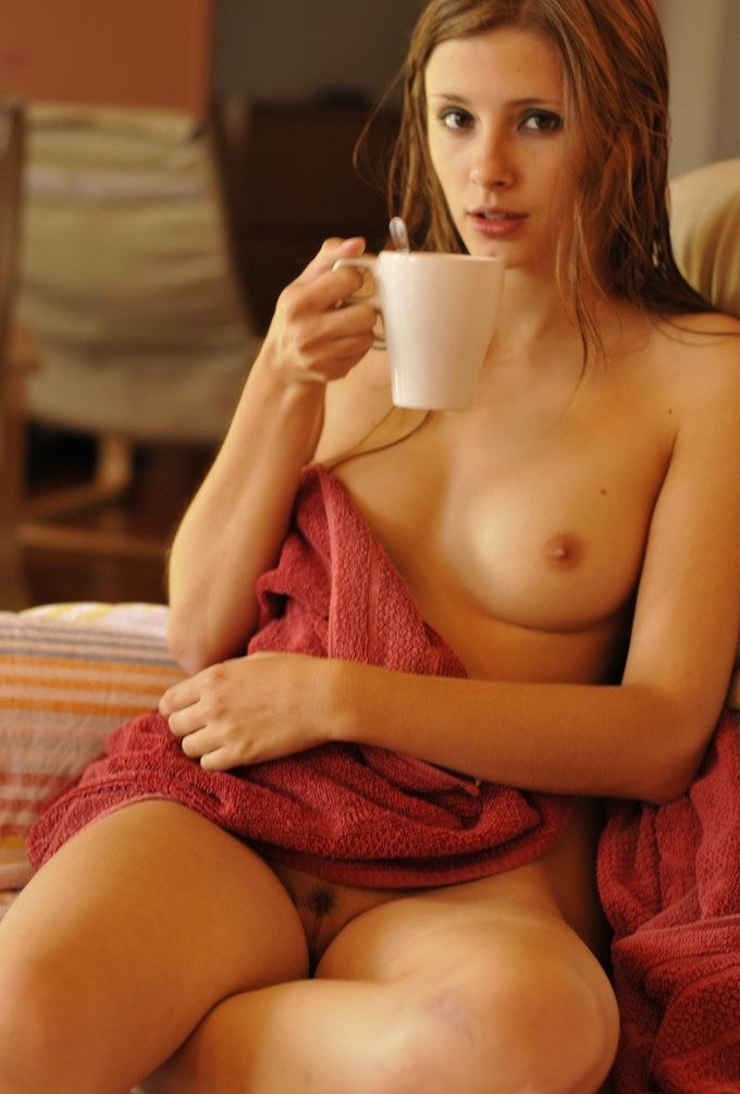 Are Girls naked drinking coffee there