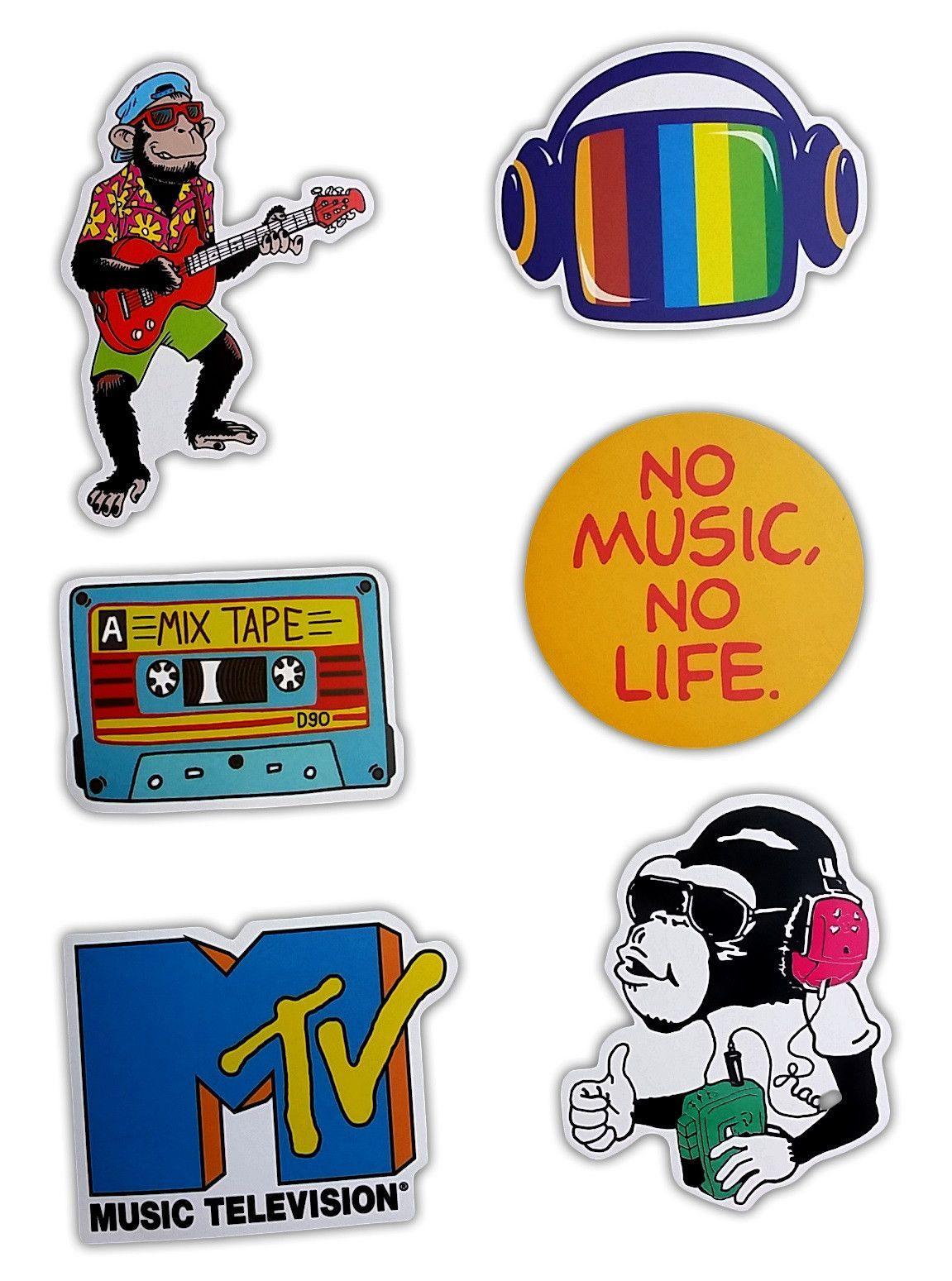 Mtv Music Skateboard Stickers Set Of 6 Stickers Macacos Adesivos [ jpg ]