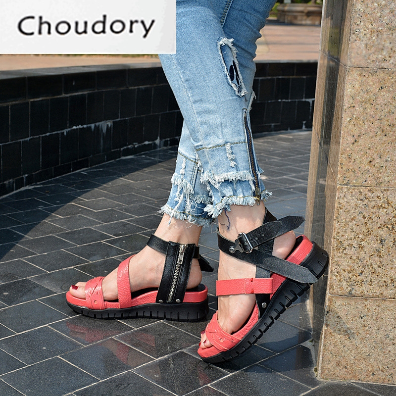 (96.80$)  Watch more here - http://aivhq.worlditems.win/all/product.php?id=32802170302 - Choudory Open Toe High Heel Platform Wedges Mixed Colors Gladiator Sandals Buckle Zipper Leather Fashion Dunk Low Shoes Woman