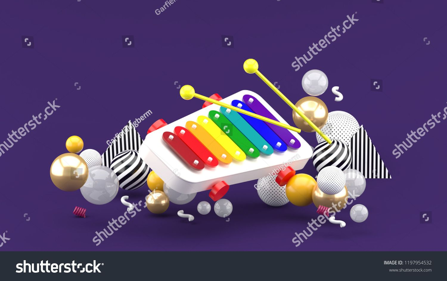 d6a390f09 Xylophone toy among colorful balls on purple background.-3d rendering. colorful toy Xylophone balls