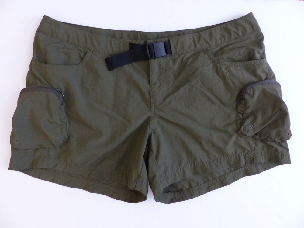 a1cc079446 Womens Columbia Cross-on-Over Cargo Shorts Olive Green Waist Buckle L  Hiking #Columbia #Shorts