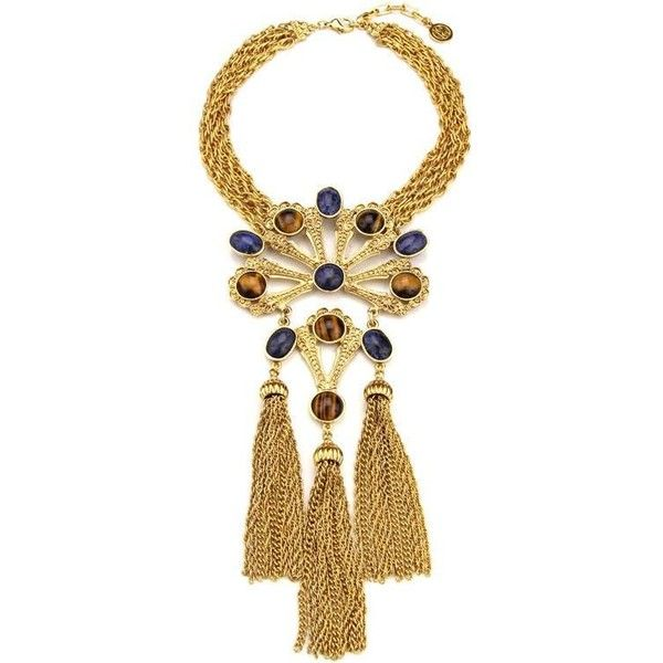 Gypset Large Gold Necklace With Pendant and Three Tassels ($719) ❤ liked on Polyvore featuring jewelry, necklaces, tassel pendant, pendant necklace, tassle necklace, gold necklace and tassel necklace