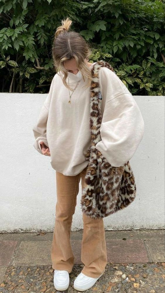 Tan and White Y2K Outfit, Leopard print bag, gold