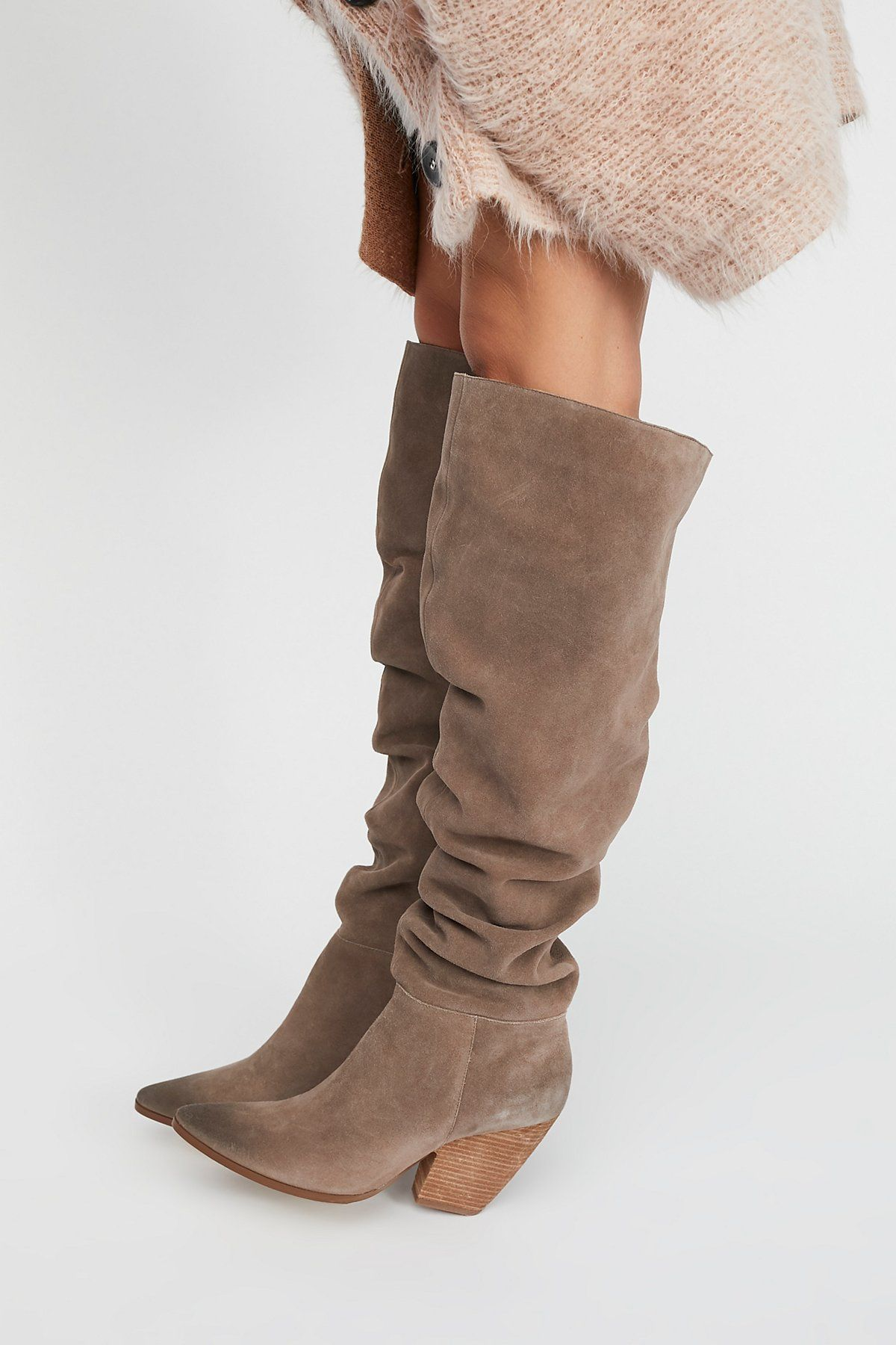 9ec37175a364 Charles David Taupe Suede Jessie Slouch Over-The-Knee Boot at Free People  Clothing Boutique