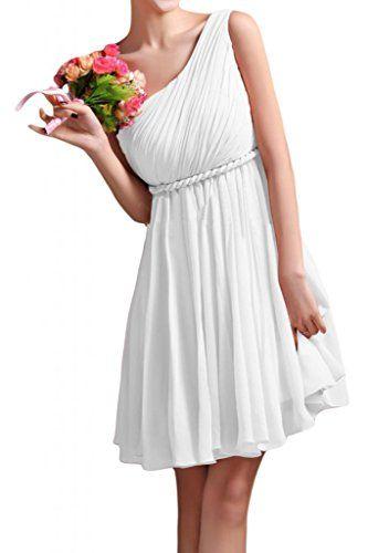 Gorgeous Bride Beliebt Ein-Traeger Rabatte Empire Kurz Chiffon  Brautjungfernkleid Cocktailkleid Partykleid-34 Weiss