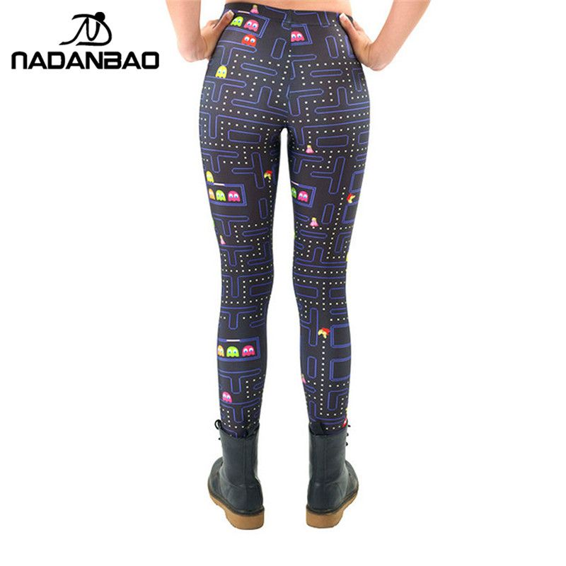 6e3a4b8316bf0 Black Milk New Maze Print Pacman Women Leggings Skinny Long leggins women  pant