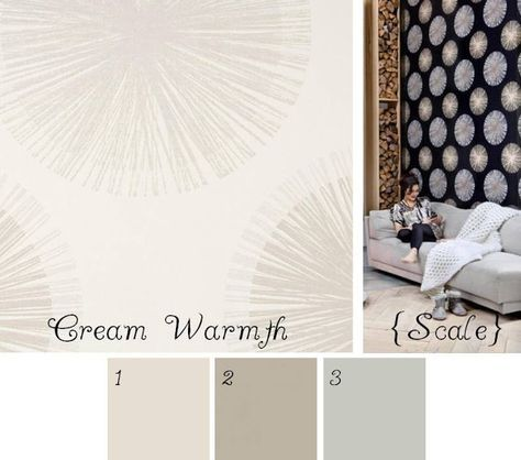 Cream Warmth wallpaper 1. Benjamin Moore Ballet White Paint 2. Benjamin Moore Pashmina Paint 3. Benjamin Moore Stonington Grey Paint LCDF {la conception des femmes}: Style that item: Kerry's dining room