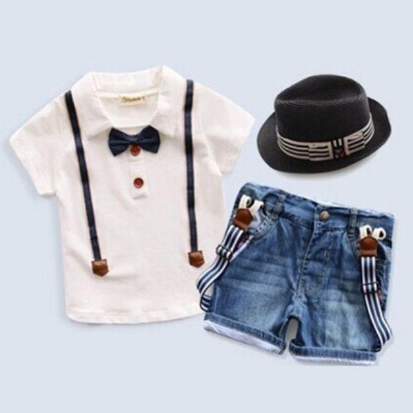 gallus  denim shorts pants Set fit 2-8T 2PCS Baby handsome Boys T-shirt