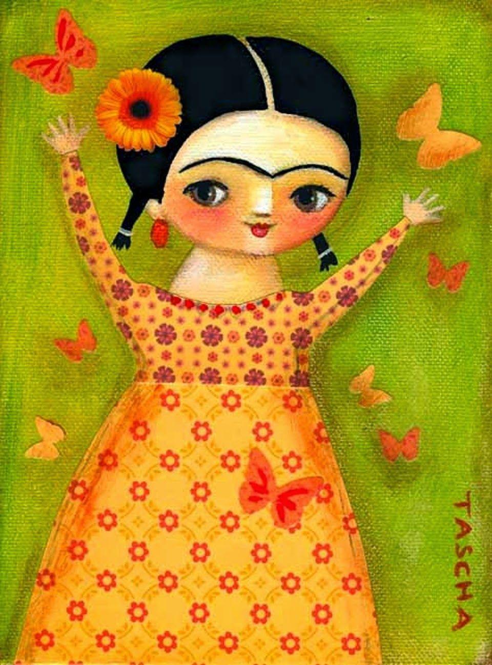 ORIGINAL Canvas Painting Frida Kahlo Springtime Mixed Media By Tascha