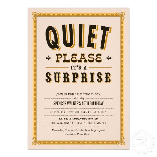 Quiet Vintage Surprise Party Invitations 40th Birthday Party
