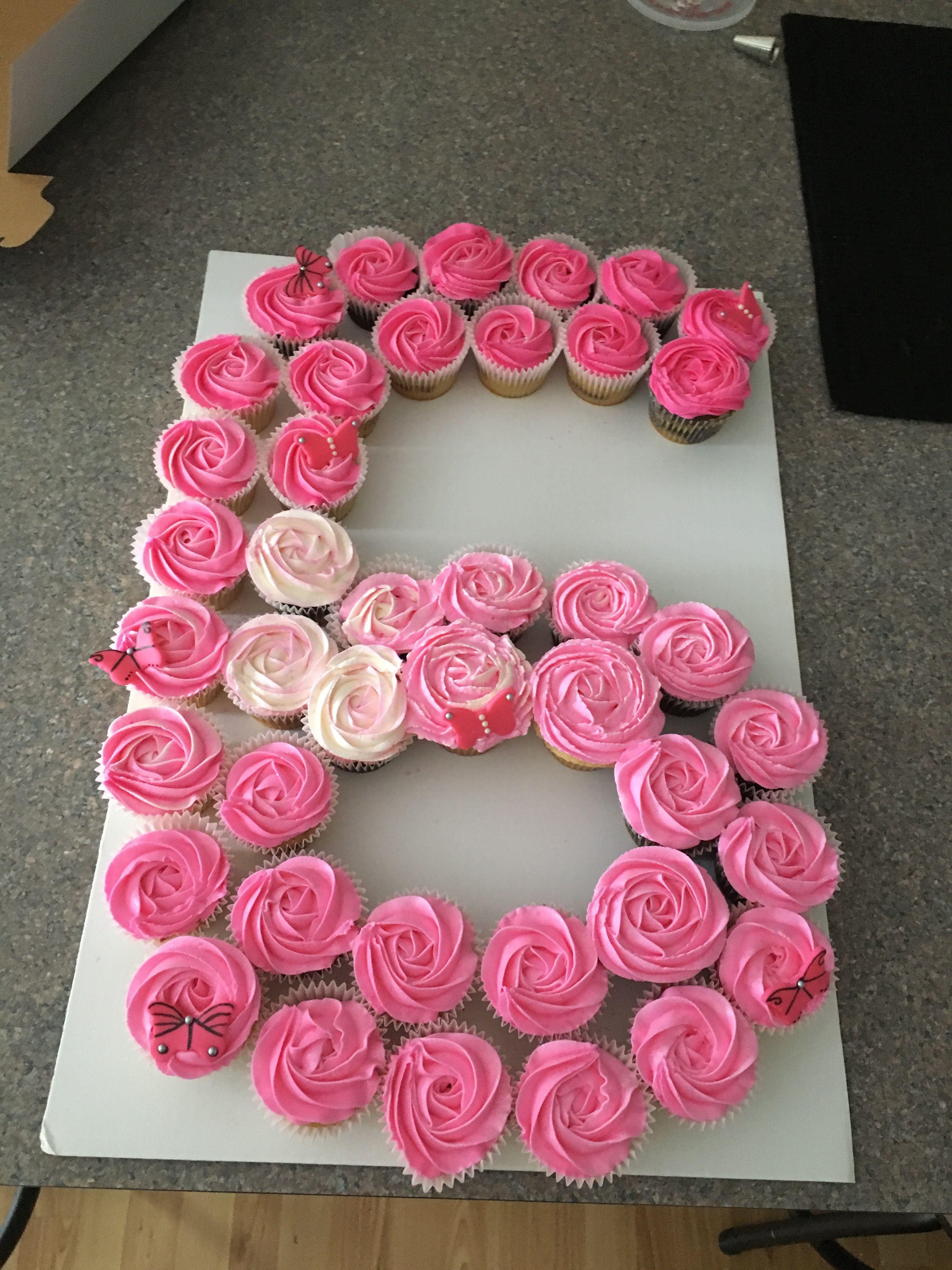 Number 6 Cupcake Cake 6th Birthday Cakes Girl Birthday Cupcakes