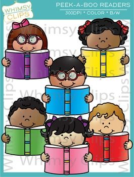 This super cute reading clip art set features 6 kids reading books. The Peek-a-Boo Readers clip art set contains 12 image files, which includes 6 color images and 6 black & white images in png and jpg. All images are 300dpi for better scaling and printing. $