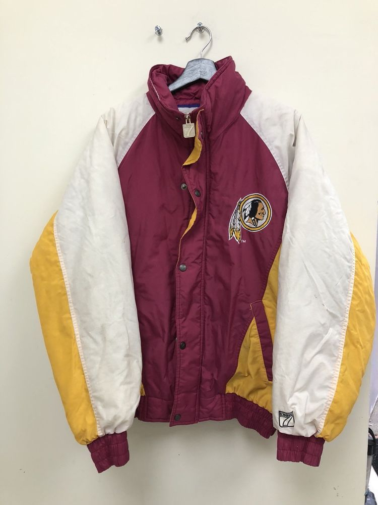 dce753581 Vintage Logo 7 NFL Washington redskins Puffer Winter Jacket Size L Free  Shipping