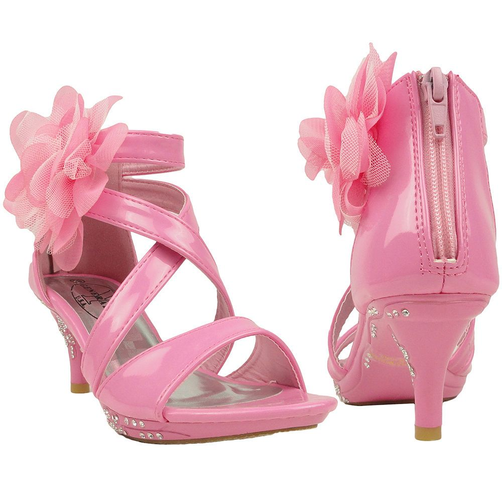 07cb7388187b New Girls Dress Sandals Strappy Rhinestones High Heel Flower Pink Youth Kids