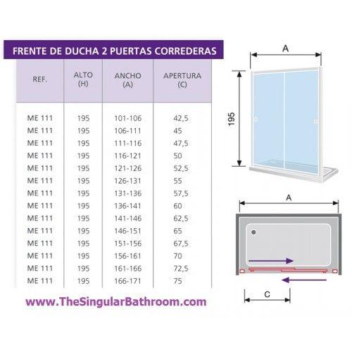 Resultado de imagen para puerta de vidrio ducha - Medidas de puertas correderas ...