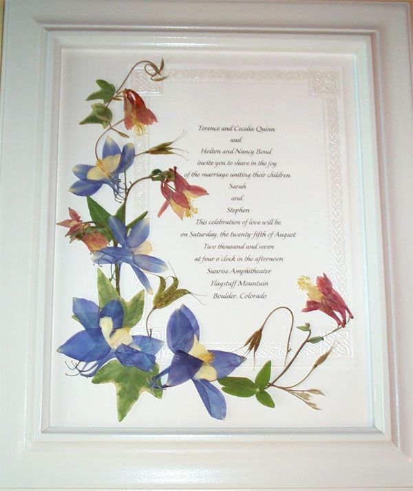 Pressed Wedding Flowers: Pressed Flower Wedding Invitations