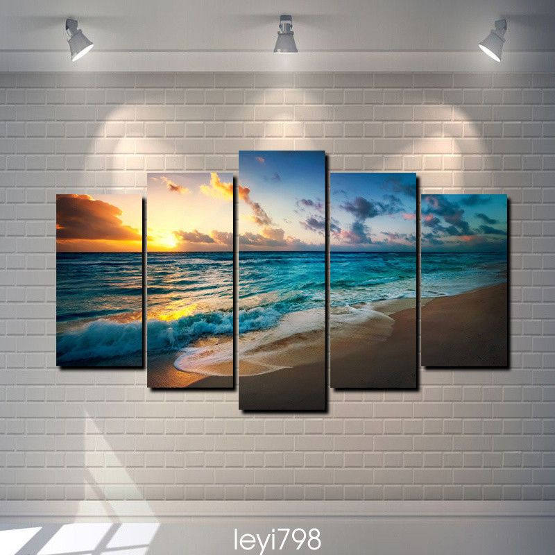 Hd print on canvas painting home decoration wall art sunset beach scenery 5pcs