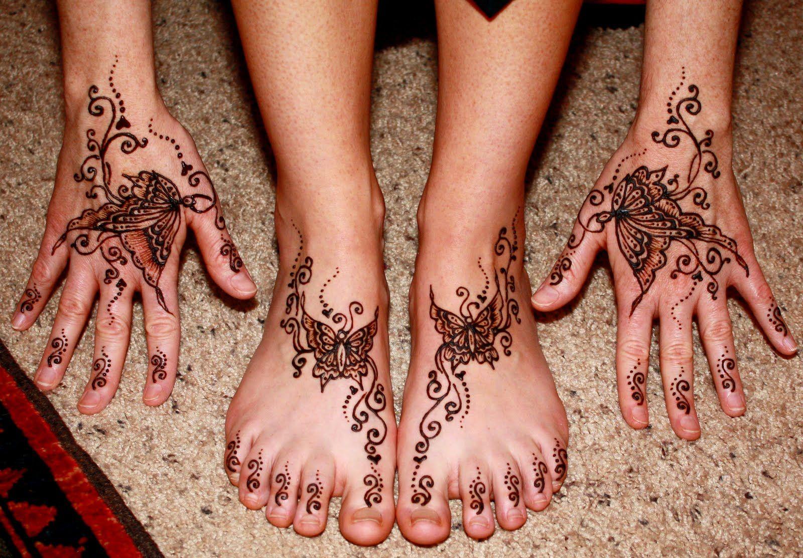 Bridal Mehndi Hands And Feet : Butterfly design henna on hands feet butterflies