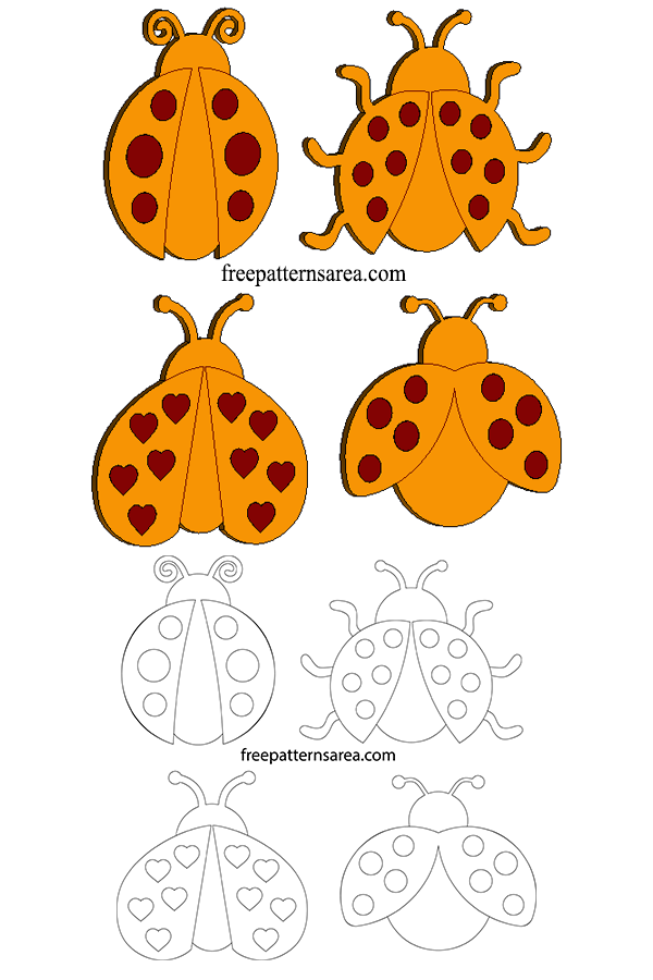 Printable Ladybug Clipart Vectors Free SVG Files | Dremel, Laser Cut