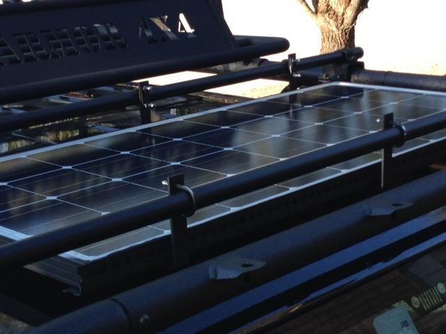 100 W Solar Panel Mounted On Yakima Bars On Body Armor Roof Rack Solar Kit Solar Panel Mounts Solar