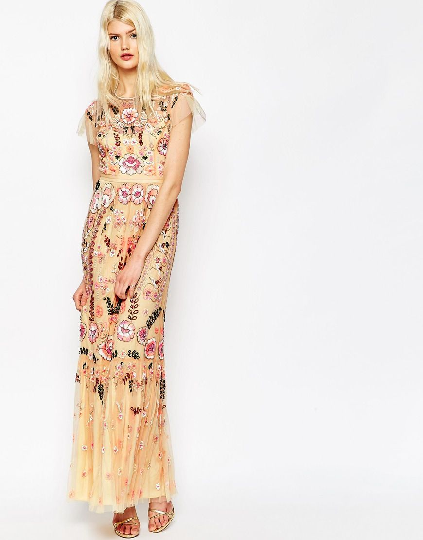 Nana all over sequin maxi dress with lace up side detail on wedding