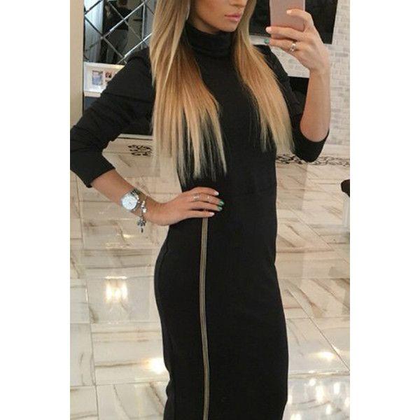 Yoins Black High Neck Long Sleeves Zip fastening Hem Midi Dress (£14) ❤ liked on Polyvore featuring dresses, black, zipper dress, high neck long sleeve dress, long-sleeve midi dresses, zip dress and high neckline dress