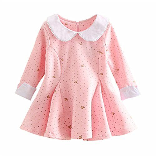 0671d06990 UWESPRING Baby Girls Flower Print Cotton Pleated Dresses Long Sleeve ...