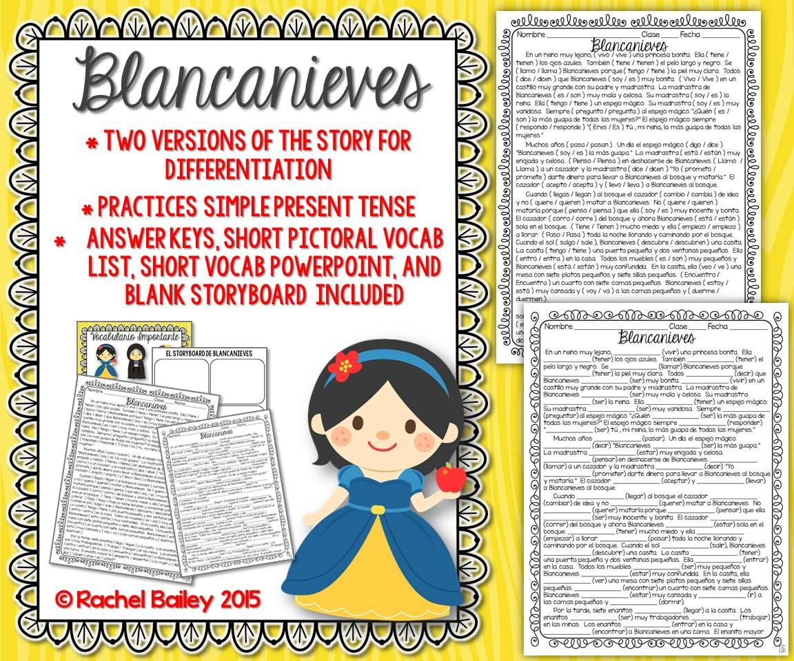 Present Tense Story Worksheet Blancanieves Snow White