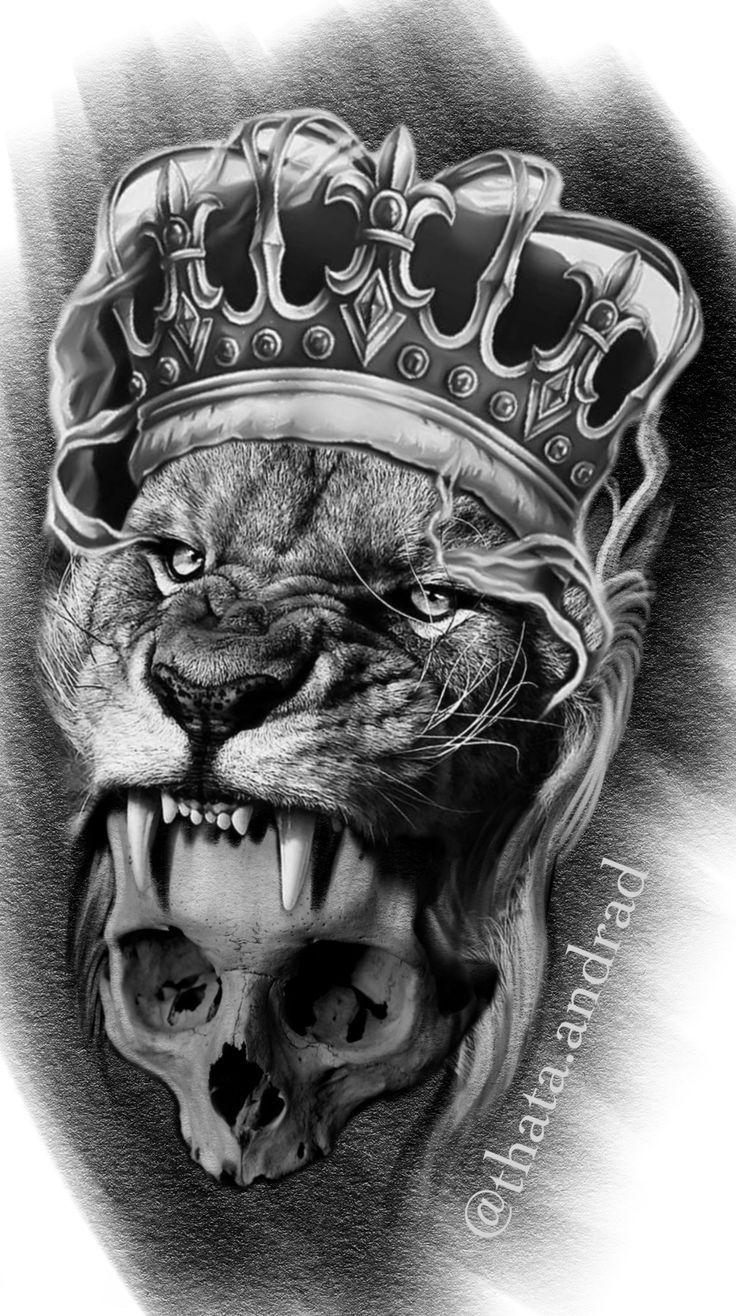 Leão coroa rosas Lion tattoo, Lion art