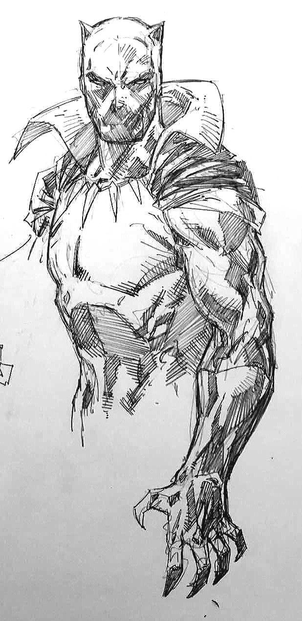 Black Panther Drawing (Black & White Art) | Dibujos | Pinterest ...