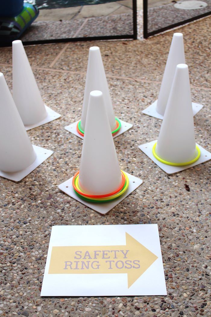Cone Toss Game from a Modern Construction Birthday Party via Kara's Party Ideas | KarasPartyIdeas.com The Place for All Things Party! (32)