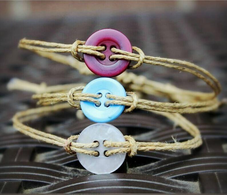 Button Bracelet, hipster bracelet, adjustable twin