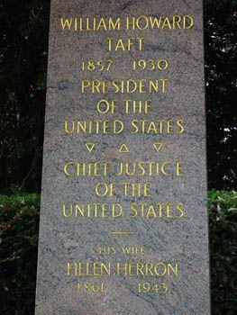 Grave Marker William Howard Taft Grave Marker Inscription Gravely