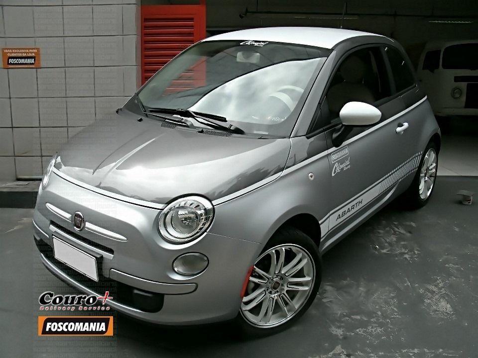 """Fiat 500 grafite envelopado saia-e-blusa metálico fosco, rodas GSW 9908 aro 17"""""""