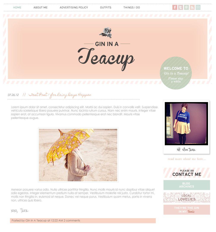 Custom Blog Design - Gin in a Teacup. Smitten Blog Designs. | Recent ...