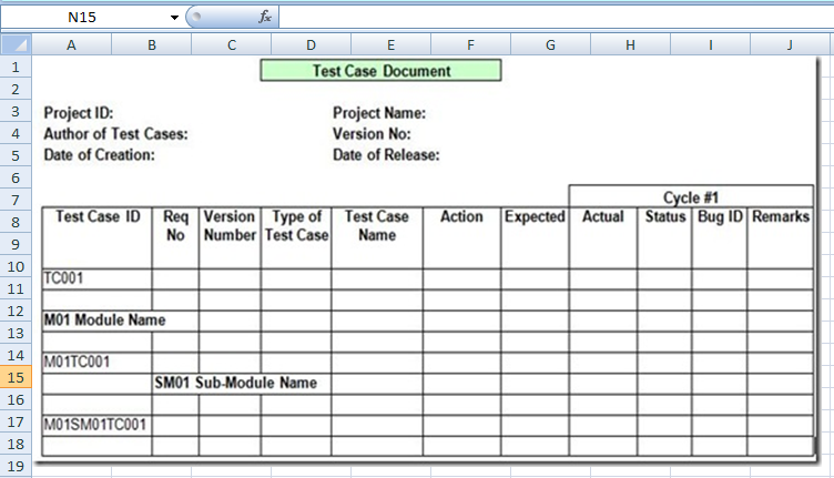 project management test case template excel xls