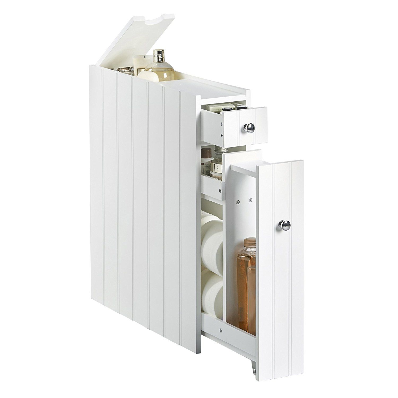 VonHaus Slimline Storage Cupboard Unit White Colonial Style
