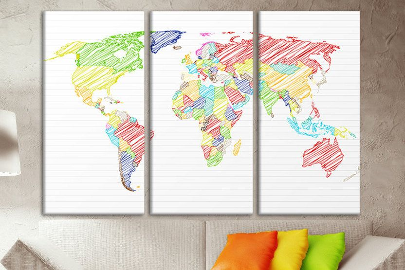 Large wall art map large wooden world map framed map of world world large wall art map large wooden world map framed map of world world map split canvas panel map world map for walls big art canvas wall art gumiabroncs Images