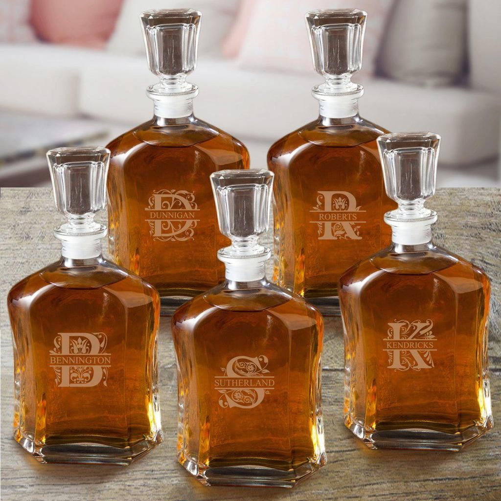 Groomsmen gift set of 5 whiskey decanters with images