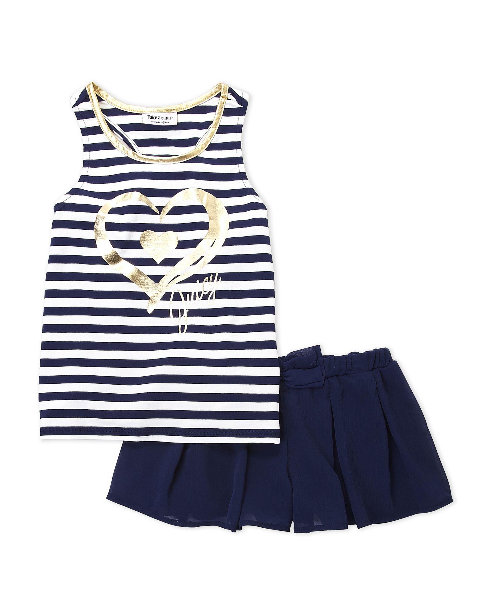 0ef316a76a7ca Juicy Couture (Girls 4-6x) Two-Piece Stripe Logo Tank & Shorts Set