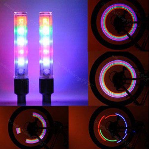 Nieuwe 2 Stks 5 LEDS Fiets Fietsband Ventieldopje Buis Neon ...